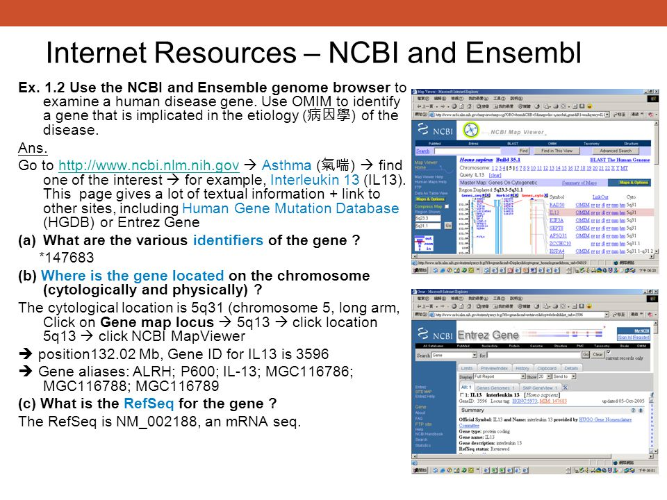 Internet Resources – NCBI and Ensembl
