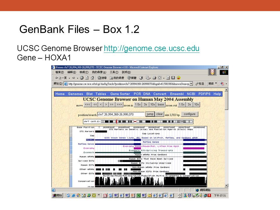 GenBank Files – Box 1.2 UCSC Genome Browser http://genome.cse.ucsc.edu