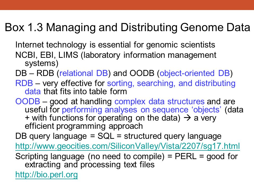 Box 1.3 Managing and Distributing Genome Data
