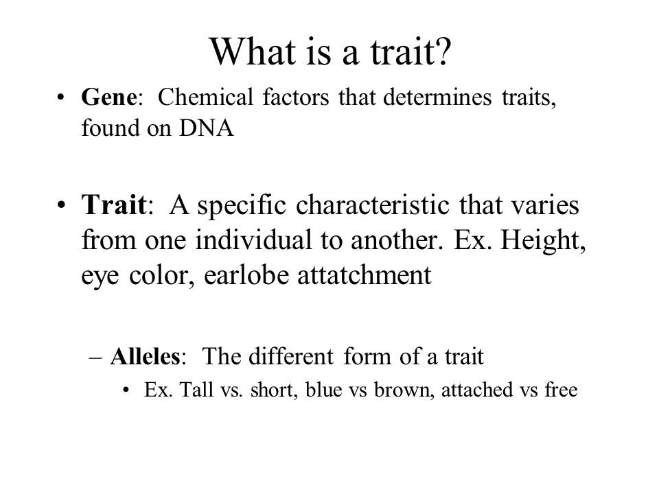 What is a trait Gene: Chemical factors that determines traits, found on DNA.