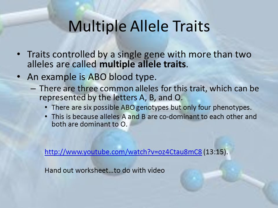 Multiple Allele Traits