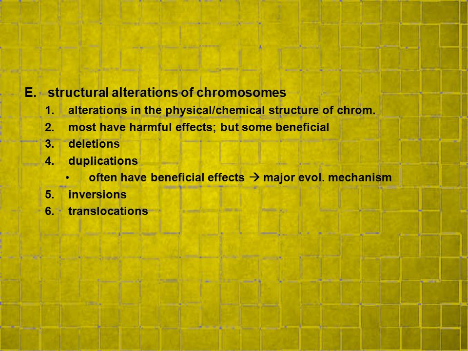 structural alterations of chromosomes