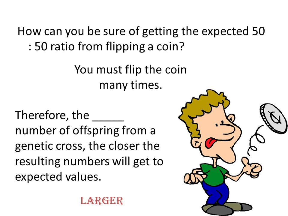 You must flip the coin many times.