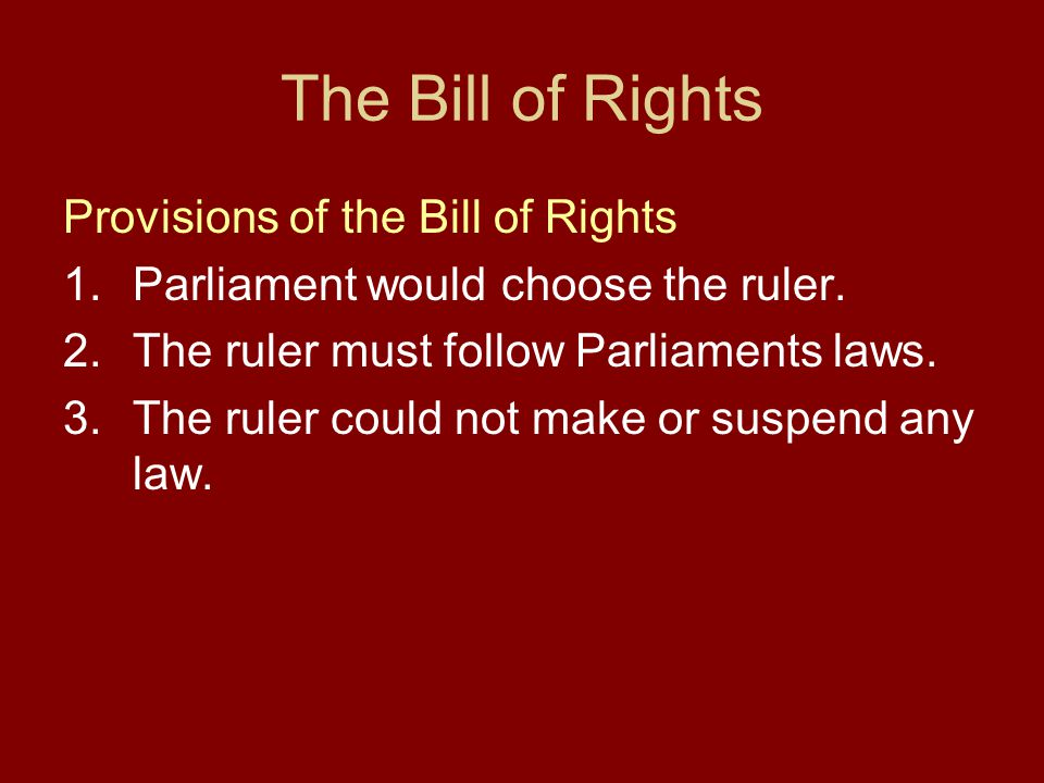 The Bill of Rights Provisions of the Bill of Rights