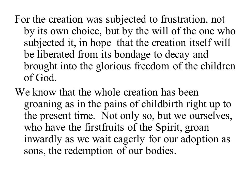 For the creation was subjected to frustration, not by its own choice, but by the will of the one who subjected it, in hope that the creation itself will be liberated from its bondage to decay and brought into the glorious freedom of the children of God.