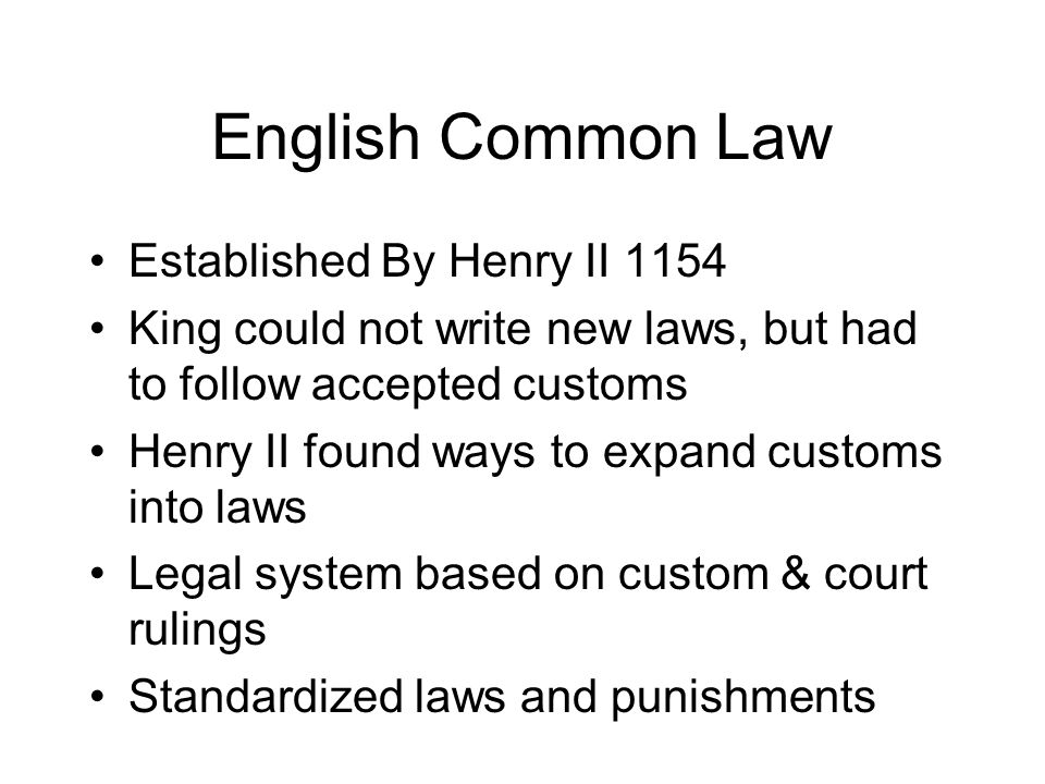 English Common Law Established By Henry II 1154