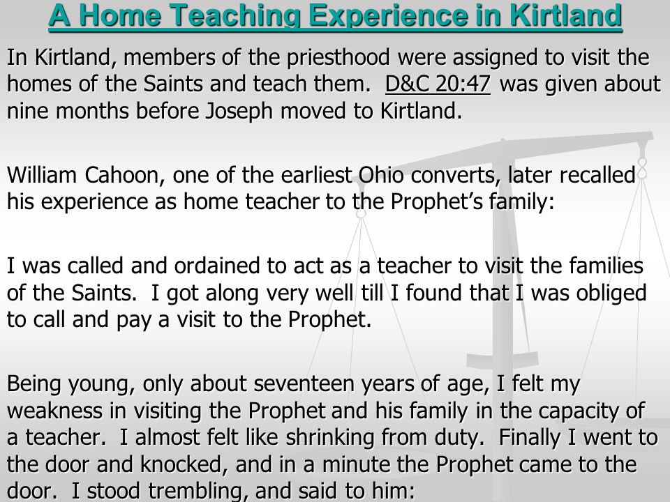 A Home Teaching Experience in Kirtland