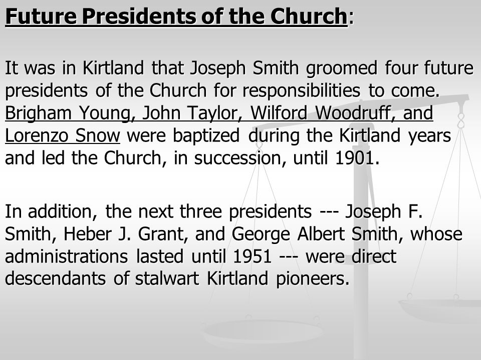 Future Presidents of the Church: