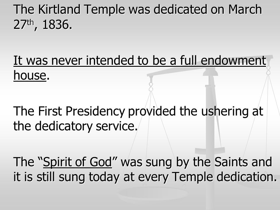 The Kirtland Temple was dedicated on March 27th, 1836.