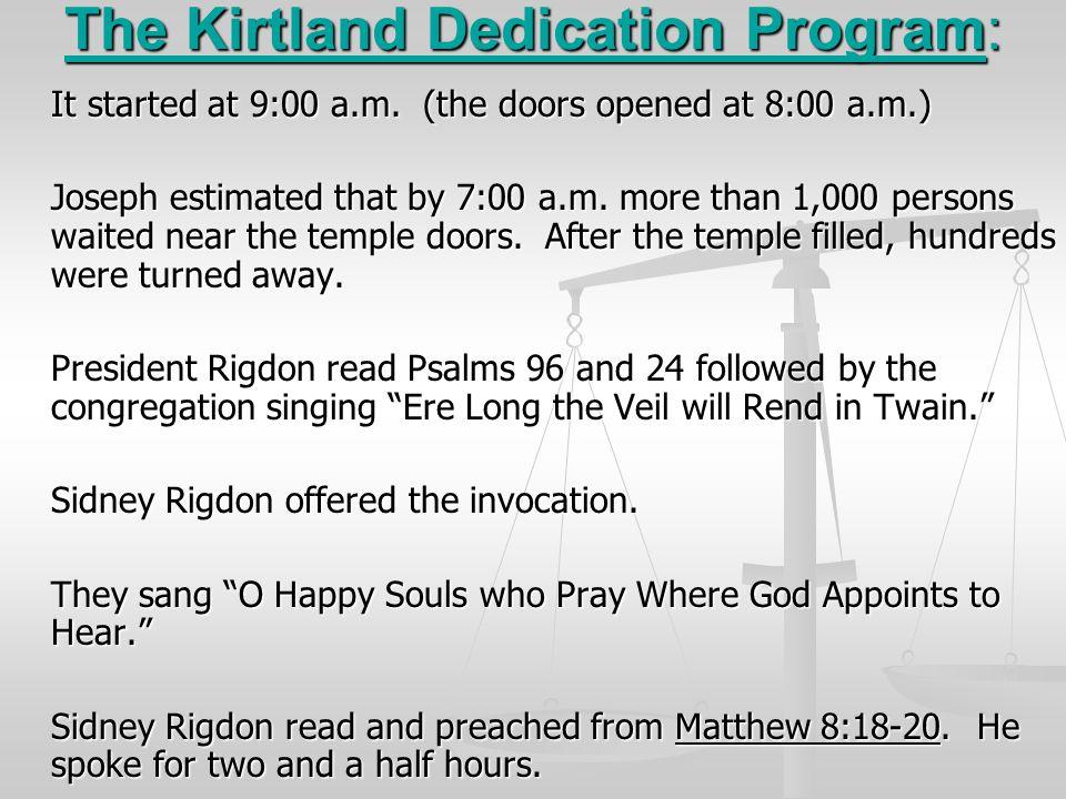 The Kirtland Dedication Program: