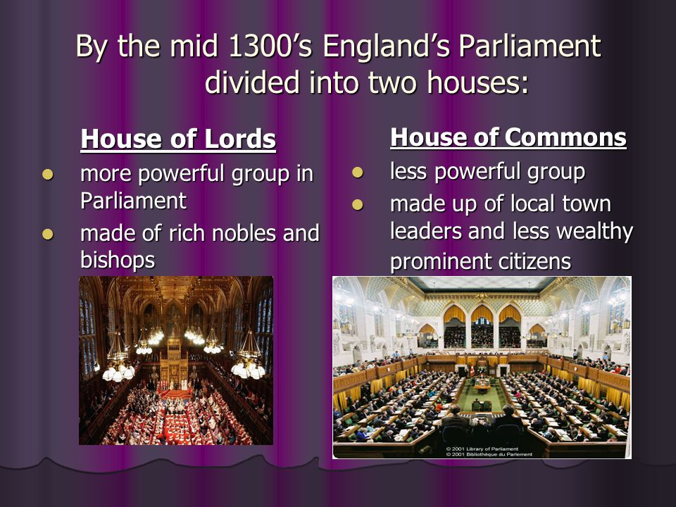 By the mid 1300's England's Parliament divided into two houses: