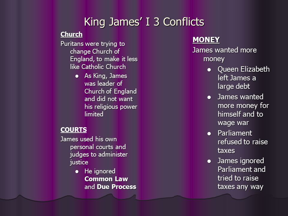 King James' I 3 Conflicts