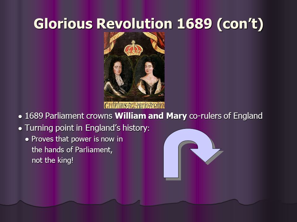 Glorious Revolution 1689 (con't)
