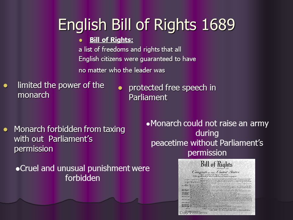 English Bill of Rights 1689 limited the power of the monarch