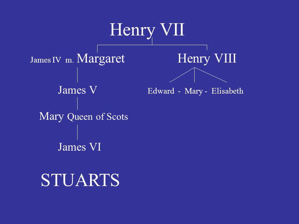 Henry VII STUARTS James V Edward - Mary - Elisabeth James VI