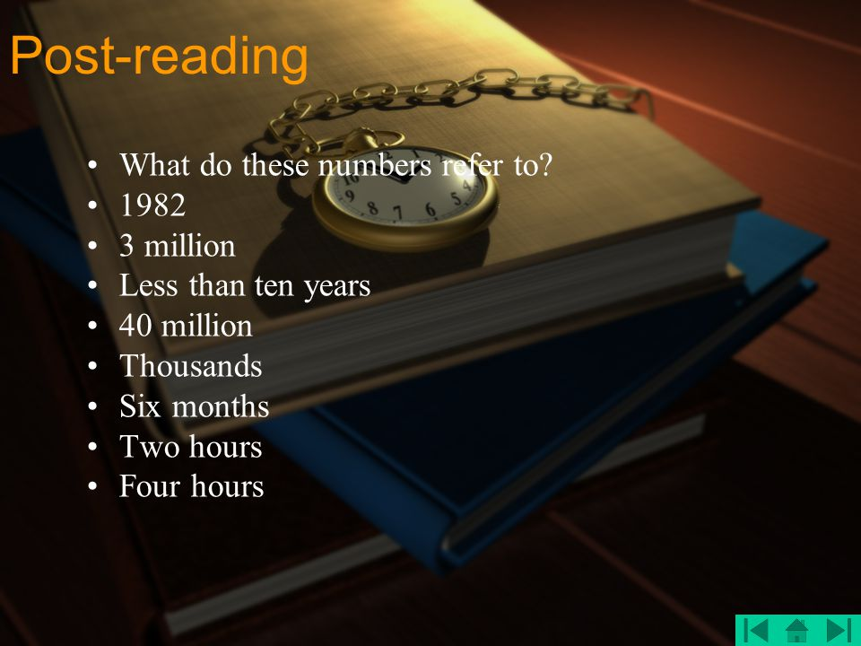 Post-reading What do these numbers refer to 1982 3 million