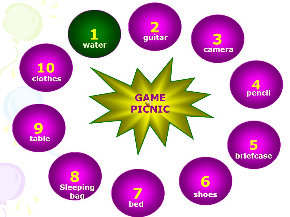 2 1 3 9 8 6 7 10 4 5 GAME PICNIC guitar water camera clothes pencil
