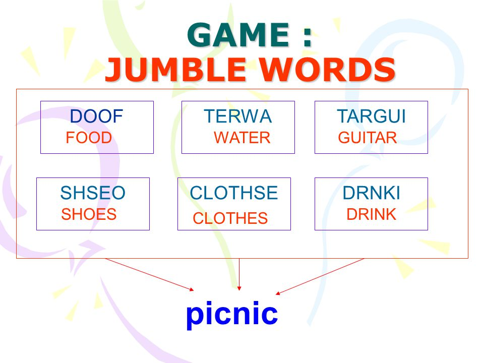 GAME : JUMBLE WORDS picnic DOOF TERWA TARGUI SHSEO CLOTHSE DRNKI FOOD
