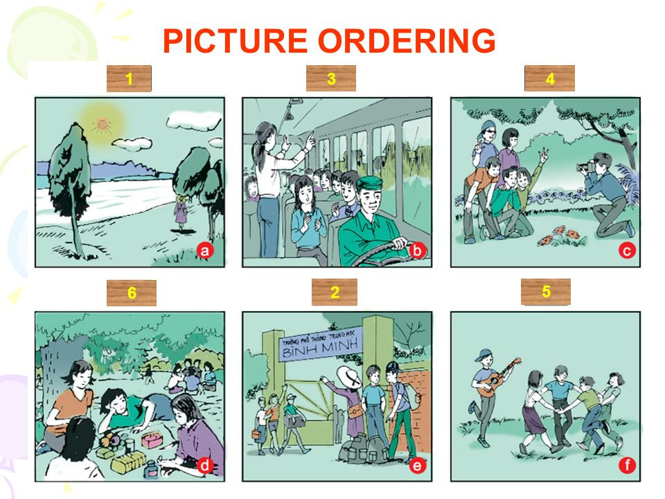 PICTURE ORDERING 1 3 4 6 2 5