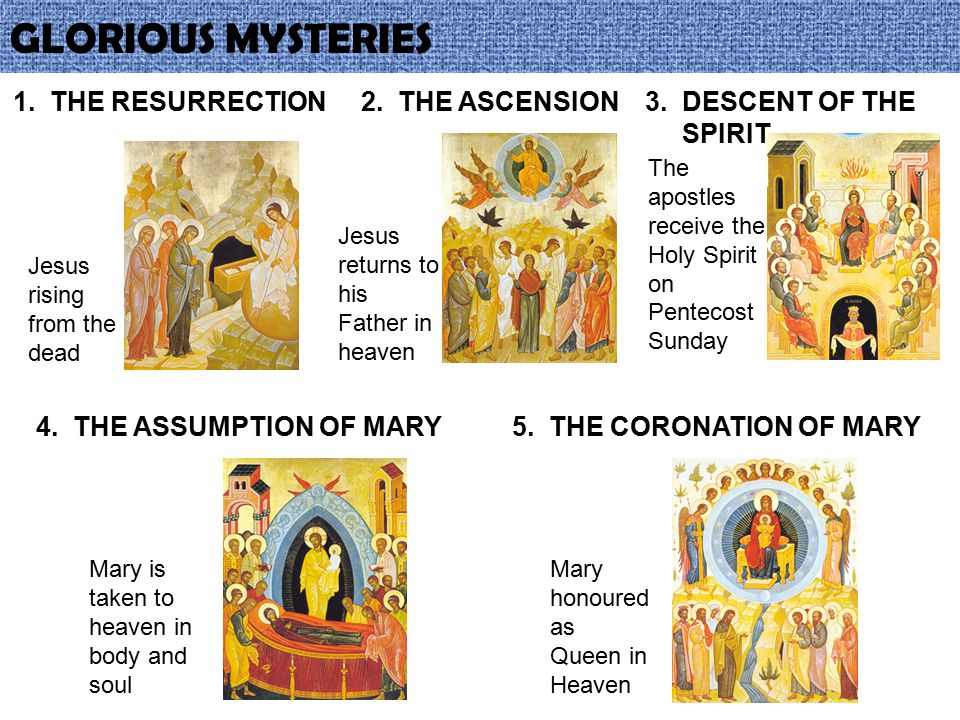 GLORIOUS MYSTERIES 1. THE RESURRECTION 2. THE ASCENSION