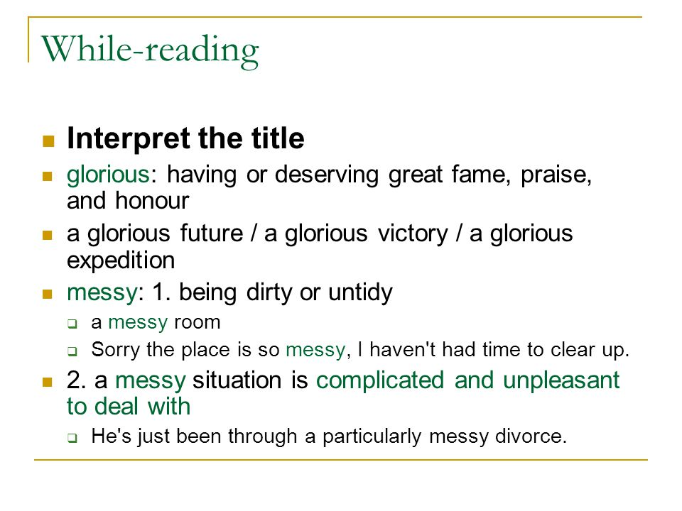 While-reading Interpret the title