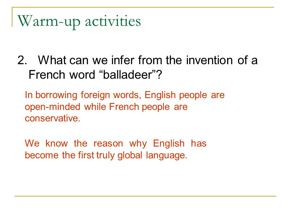 Warm-up activities 2. What can we infer from the invention of a French word balladeer