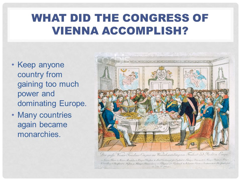 What Did the congress of Vienna Accomplish