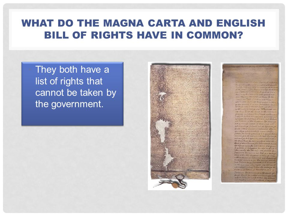 What do the Magna carta and English Bill of Rights have in common
