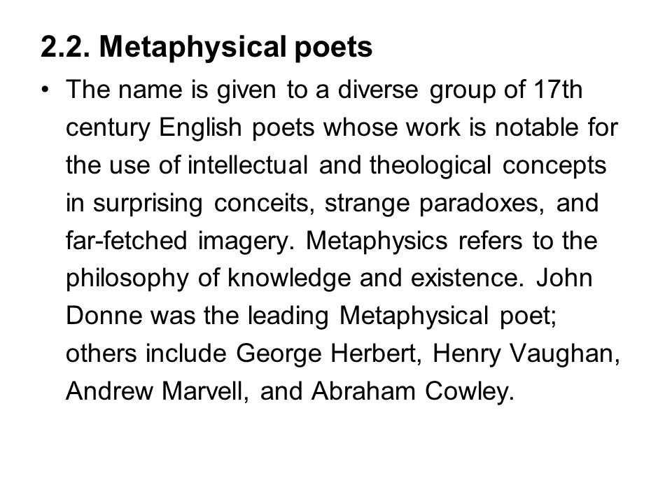 2.2. Metaphysical poets