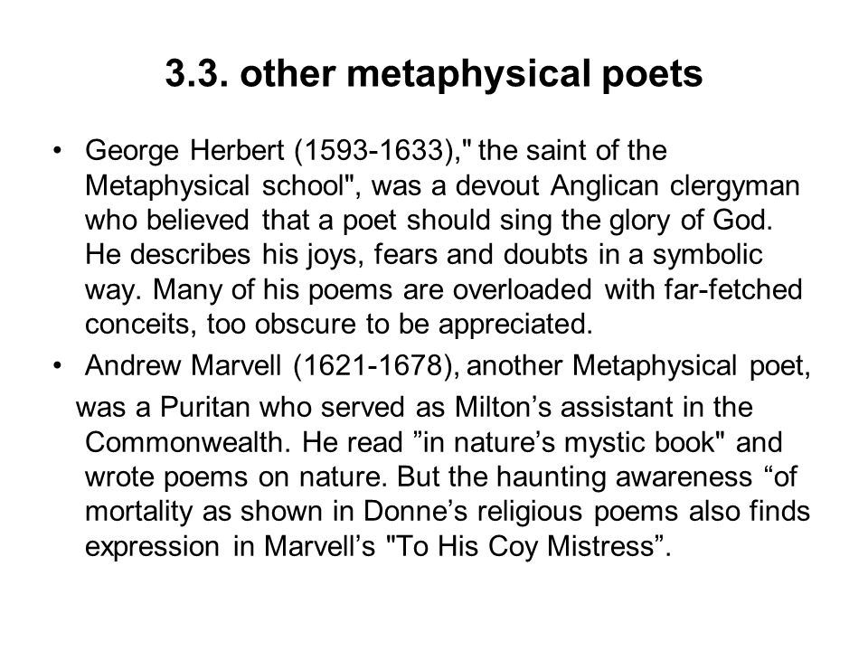 3.3. other metaphysical poets