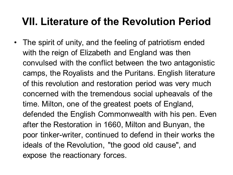 VII. Literature of the Revolution Period