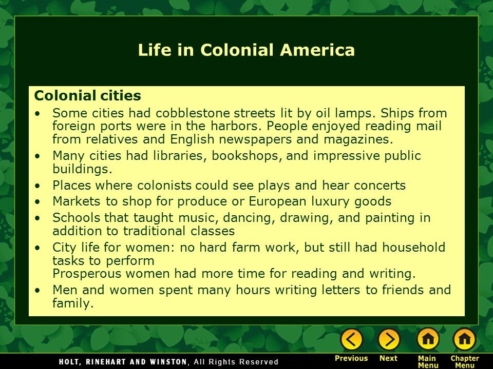 Life in Colonial America