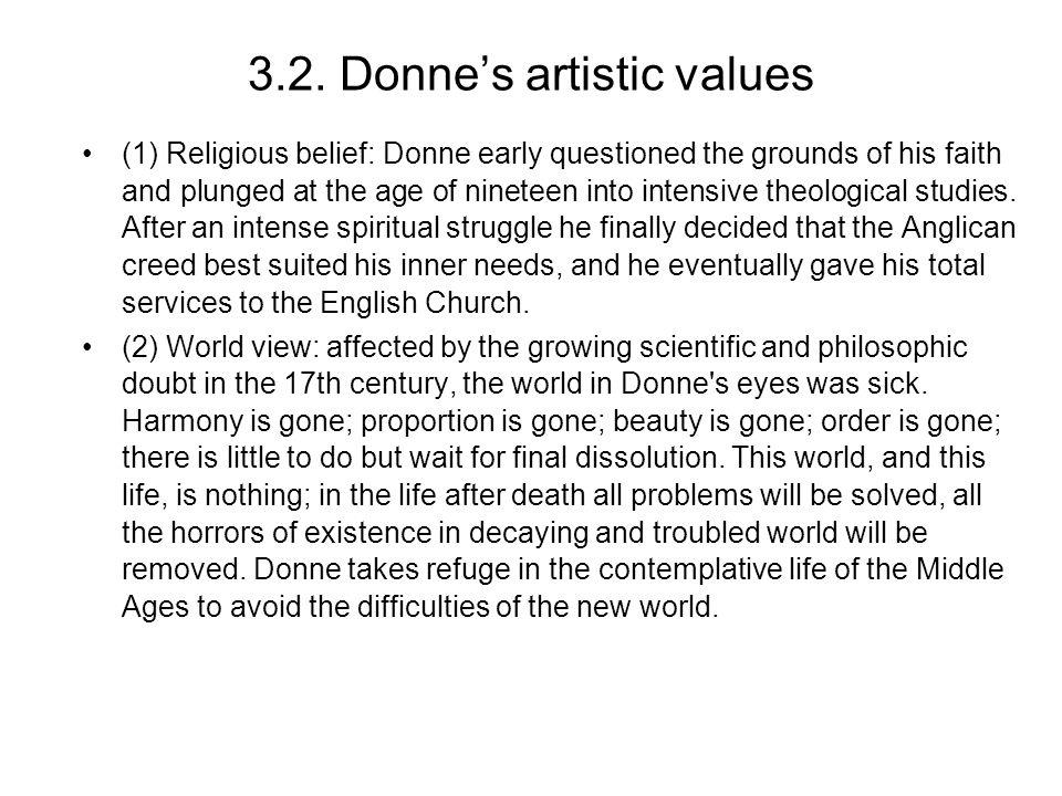 3.2. Donne's artistic values