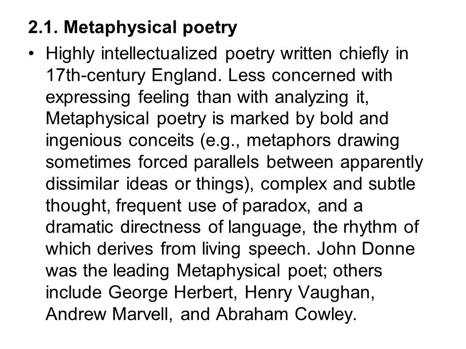 2.1. Metaphysical poetry