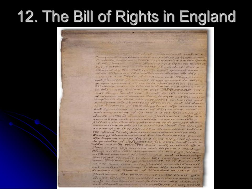 12. The Bill of Rights in England