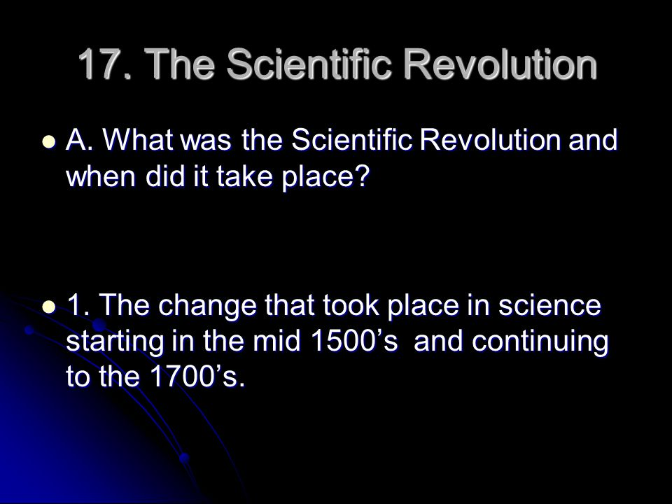 17. The Scientific Revolution