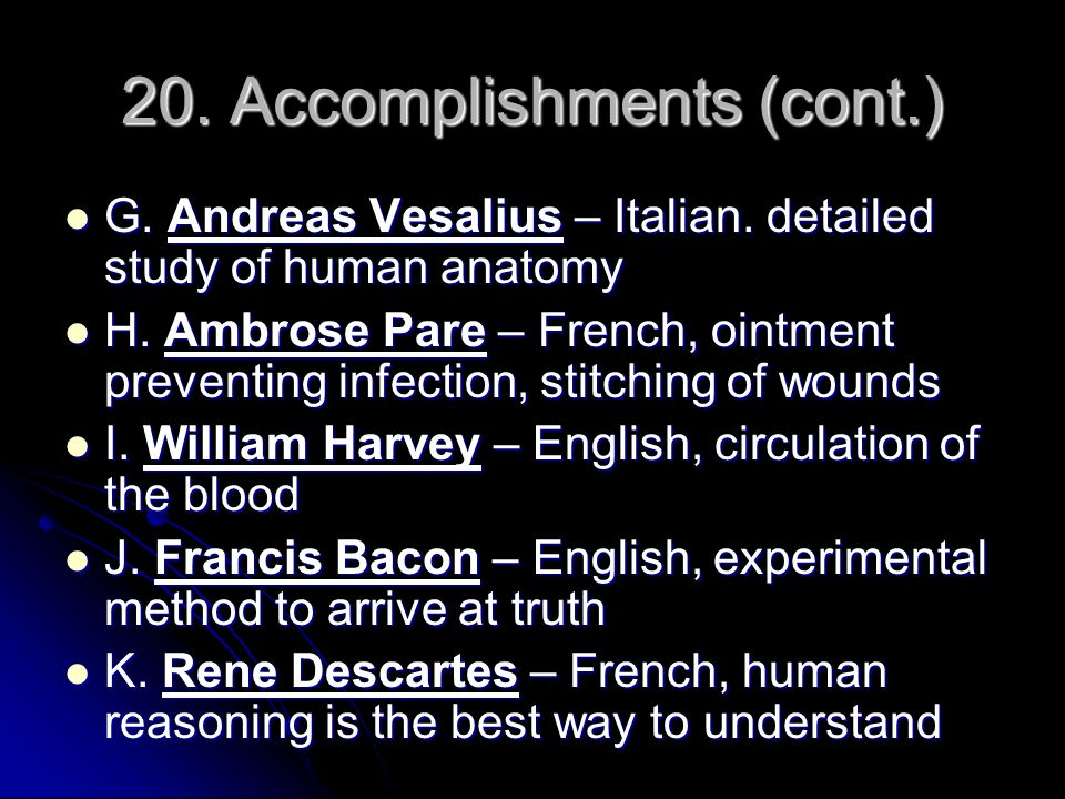 20. Accomplishments (cont.)