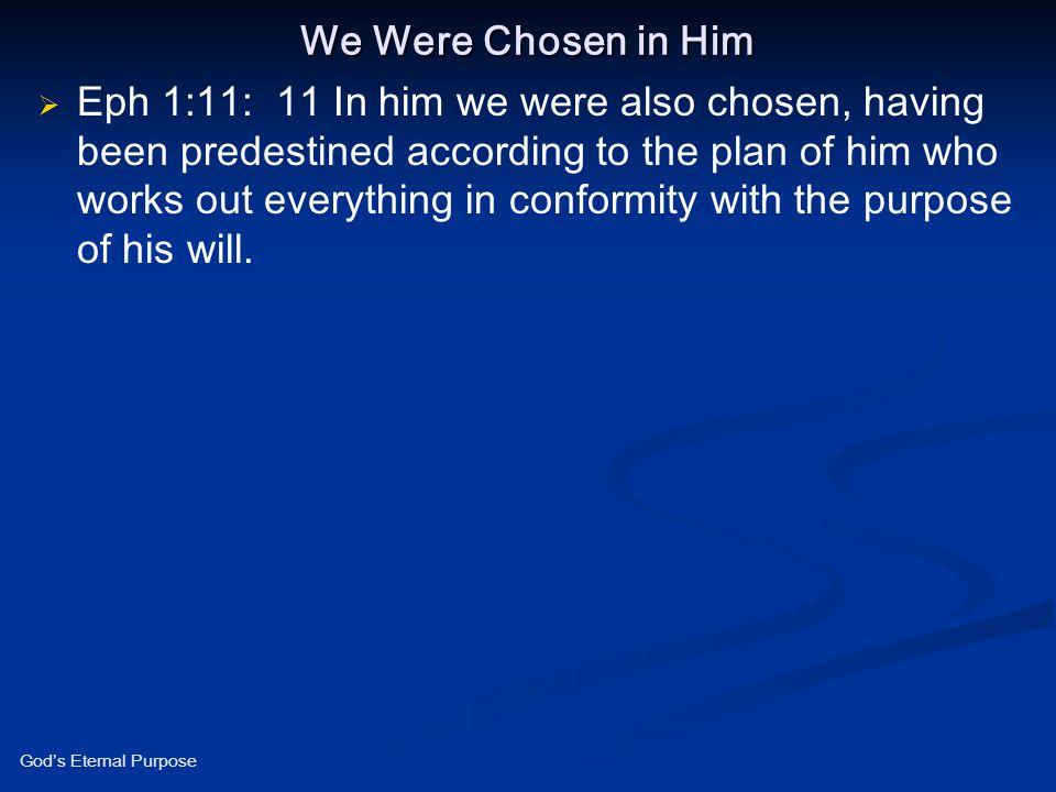 We Were Chosen in Him