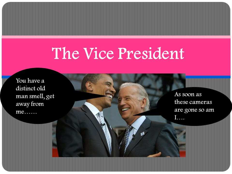 The Vice President You have a distinct old man smell, get away from me…… As soon as these cameras are gone so am I….