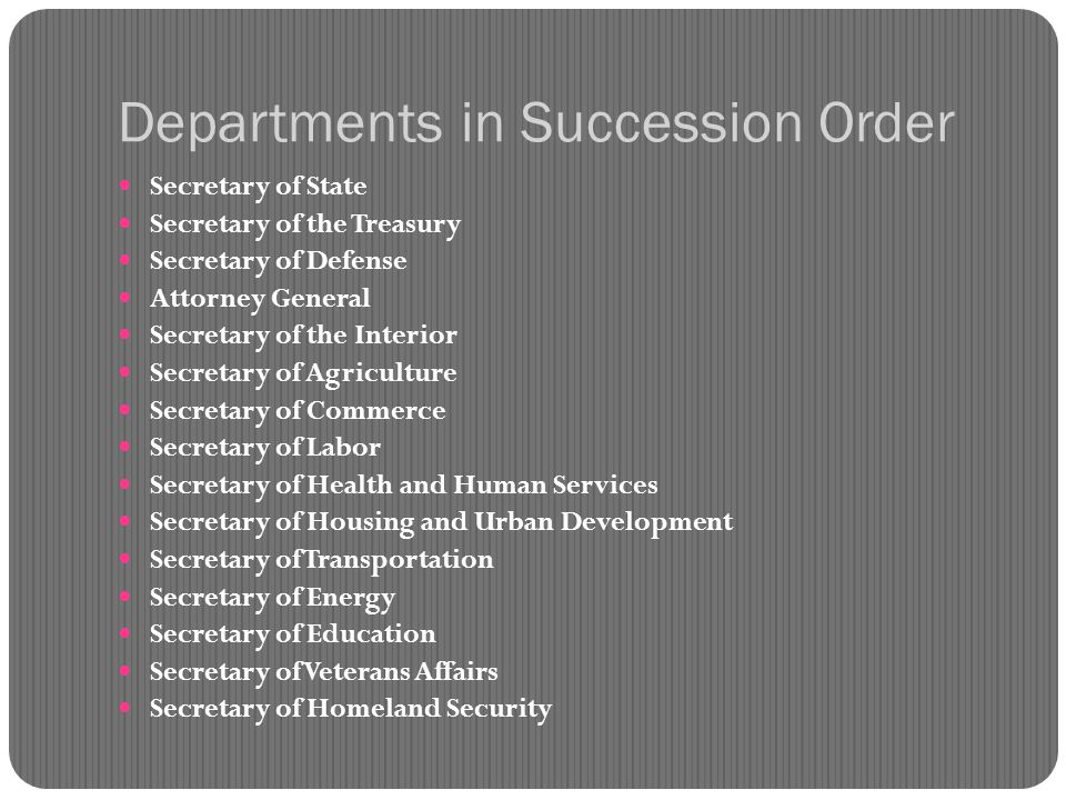 Departments in Succession Order