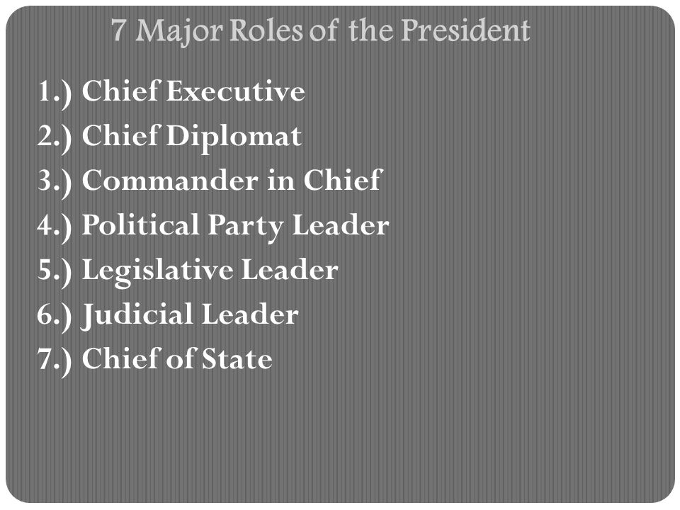 7 Major Roles of the President