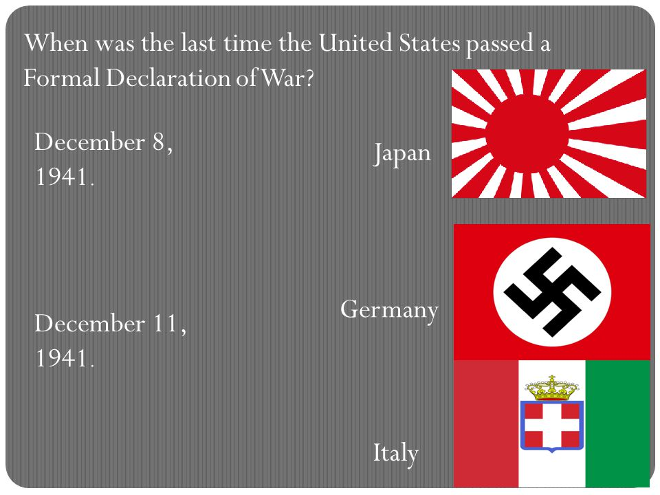 When was the last time the United States passed a Formal Declaration of War