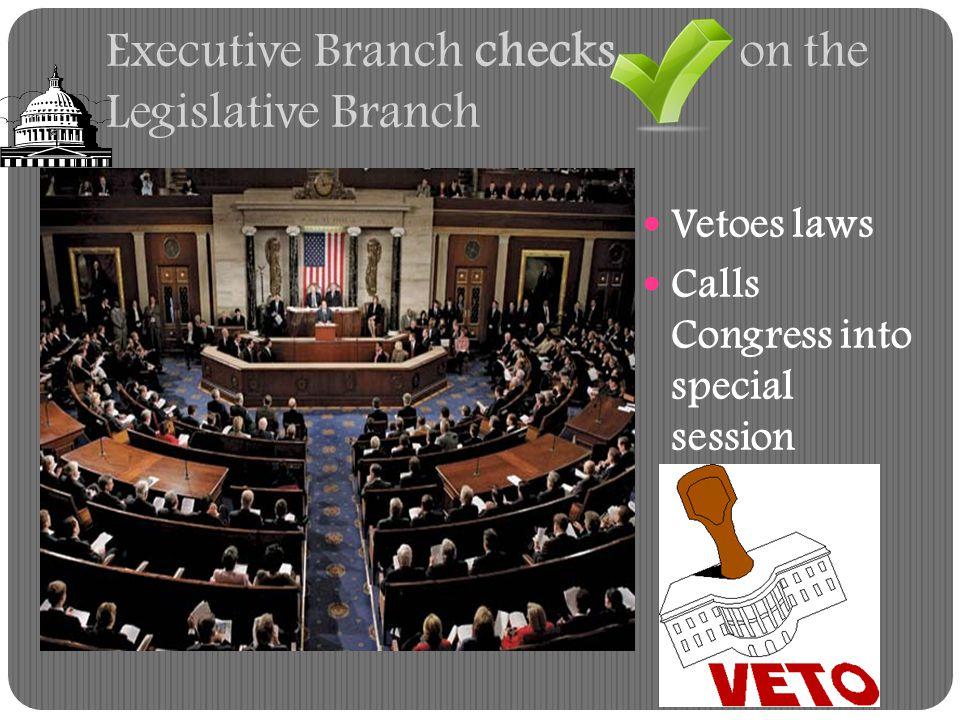 Executive Branch checks on the Legislative Branch
