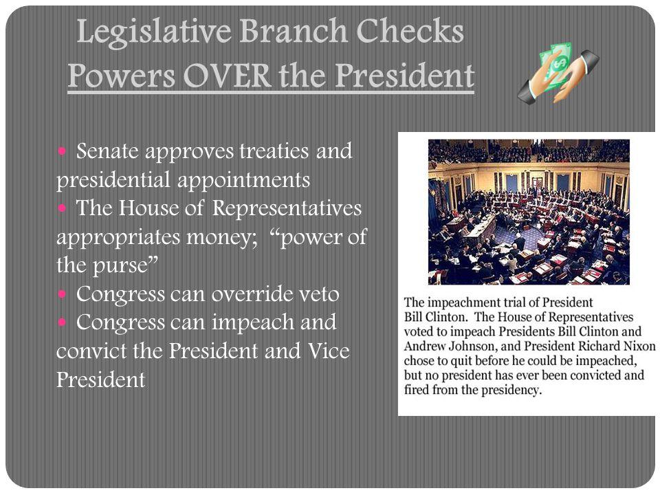 Legislative Branch Checks Powers OVER the President