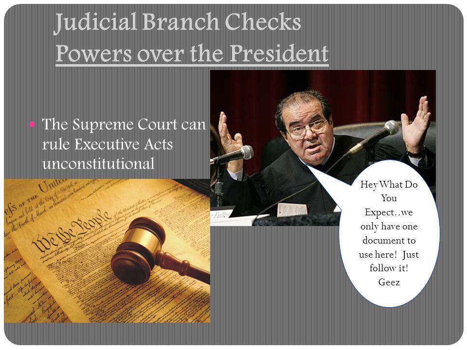 Judicial Branch Checks Powers over the President