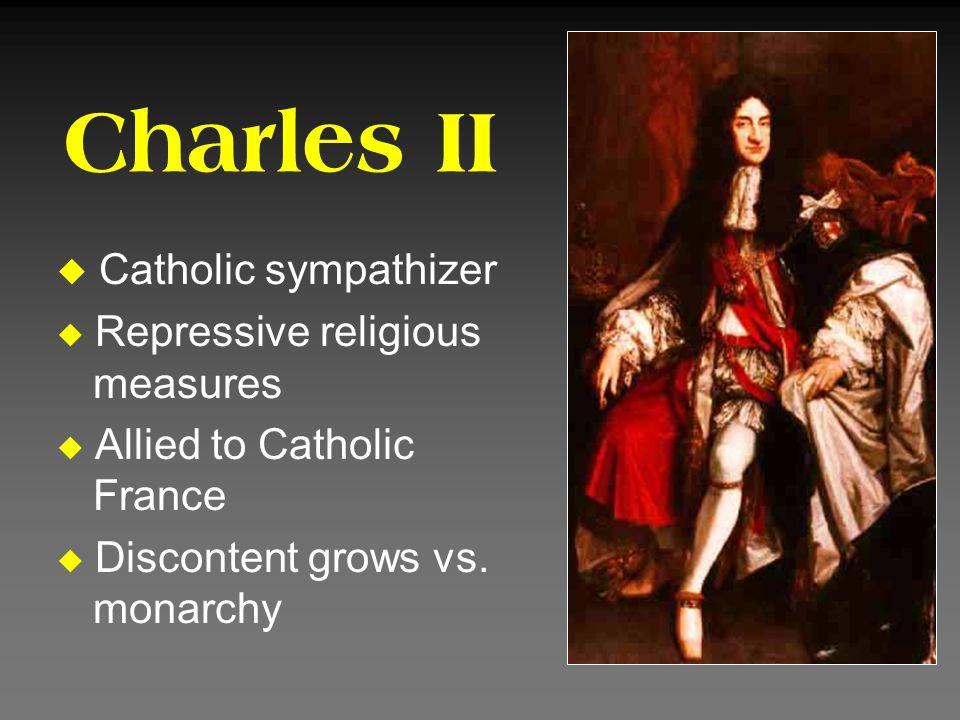 Charles II Catholic sympathizer Repressive religious measures