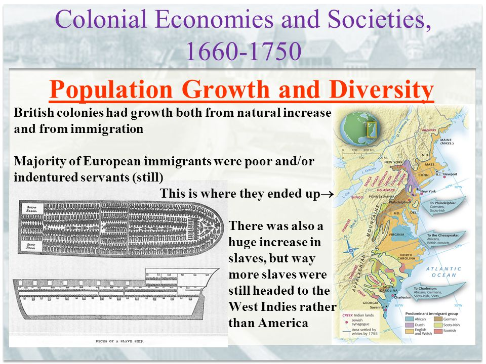 Colonial Economies and Societies, 1660-1750