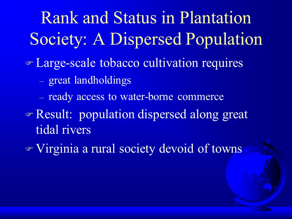 Rank and Status in Plantation Society: A Dispersed Population