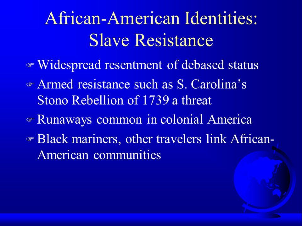 African-American Identities: Slave Resistance