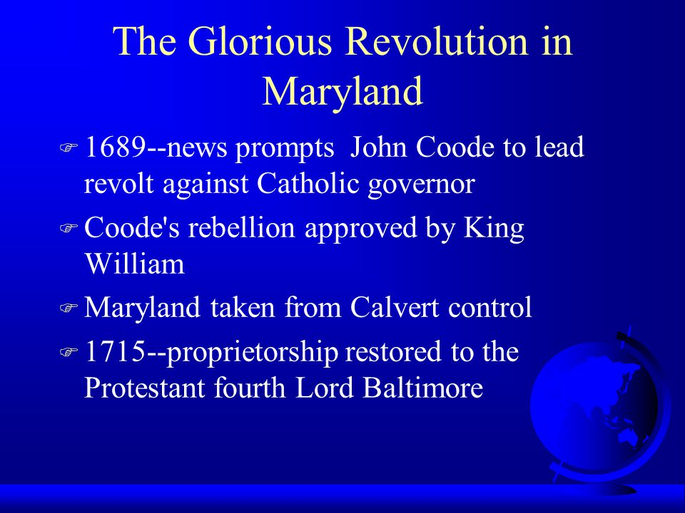 The Glorious Revolution in Maryland